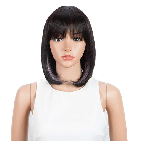 Image of Rebecca Fashion Short Human Hair Bob Wigs With Bangs Black With Purplr Color Dying Hair Behind Ear Wigs 10 inch