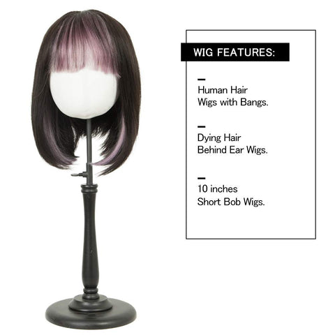 Rebecca Fashion Short Human Hair Bob Wigs With Bangs Ombre Black With Purple Color Dying Hair Behind Ear Wigs 10 inch