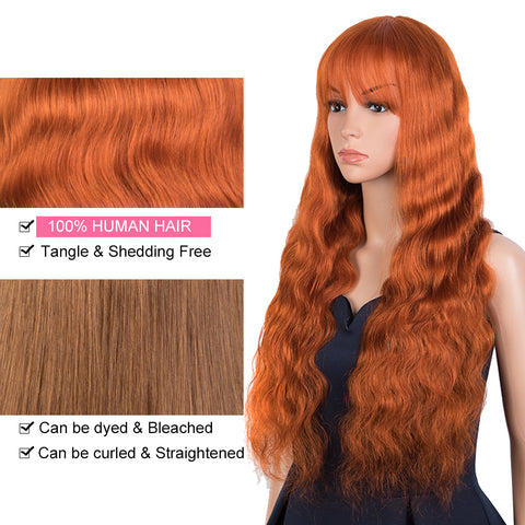 Rebecca Fashion Hightlight Orange Body Wave Human Hair Wigs with Bangs 100% High-quality Human Hair Wig with Bangs for Black Women 130% Density