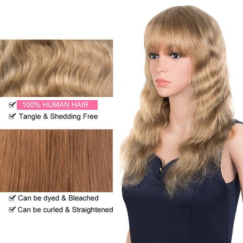 Rebecca Fashion Hightlight Blonde Body Wave Human Hair Wigs with Bangs 100% High-quality Human Hair Wig with Bangs for Black Women 130% Density
