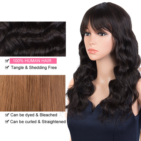 Rebecca Fashion Body Wave Human Hair Wigs with Bangs 100% High-quality Human Hair Wig with Bangs for Black Women 130% Density Natural Black color