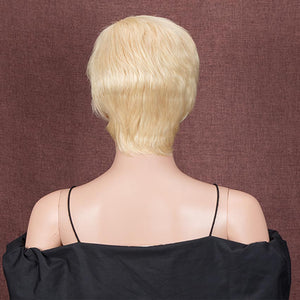 Pixie Cut Blonde Wig Human Hair Short Straight Wigs