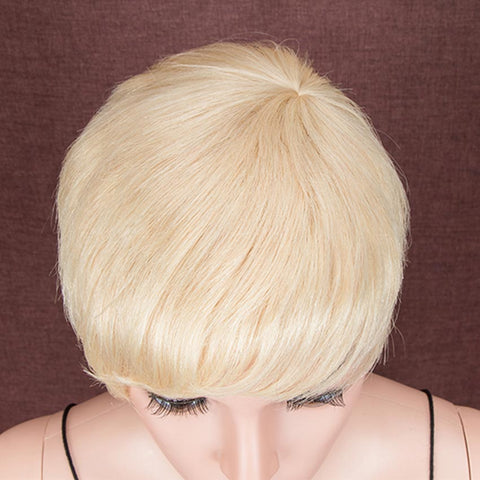 Image of Pixie Cut Blonde Wig Human Hair Short Straight Wigs
