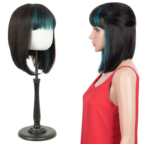 Rebecca Fashion Short Human Hair Bob Wigs With Bangs Ombre Black With Cyan-Blue Color Dying Hair Behind Ear Wigs 10 inch