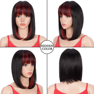Rebecca Fashion Short Human Hair Bob Wigs With Bangs Ombre Black With Red Color Dying Hair Behind Ear Wigs 10 inch
