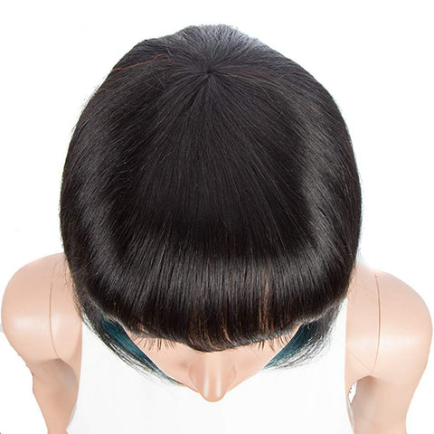 Image of Rebecca Fashion Short Human Hair Bob Wigs With Bangs Black With Blue Color Dying Hair Behind Ear Wigs 10 inch