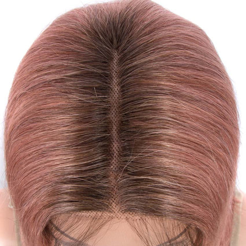 Image of Straight Part Lace Human Hair Pink Bob Wigs With Bady Hair 12inch