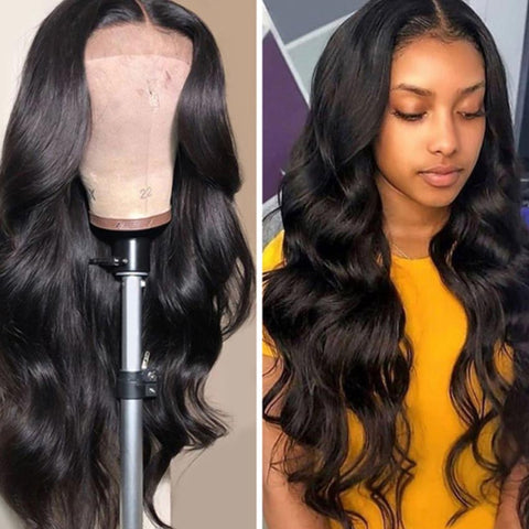 Rebecca Fashion 360 Lace Frontal Wigs 100% Body Wave Human Hair Wigs For Black Women 150% Density Natural Black Color