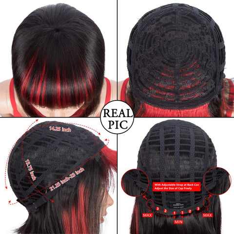 Image of Rebecca Fashion Short Human Hair Bob Wigs With Bangs Ombre Black With Red Color Dying Hair Behind Ear Wigs 10 inch