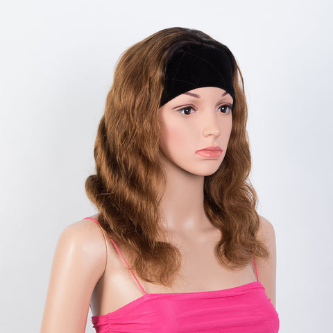 Rebecca Fashion Headband Wigs Body Wave Human Hair Wigs Velvet Headband Attached Wigs For Black Women 130% Density
