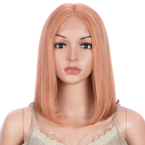 Image of Orange Bob Wig 12 Inch Human Hair Part Lace Wig