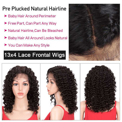 13x4 Lace Front Wigs Human Hair Deep Wave Wigs 150% Density Natural Black Color