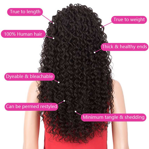 Rebecca Fashion 13x4 Lace Front Wigs Human Hair Deep Wave Wigs 150% Density Natural Black Color