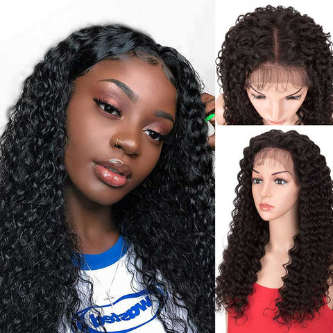 Image of Rebecca Fashion 13x4 Lace Front Wigs Human Hair Deep Wave Wigs 150% Density Natural Black Color