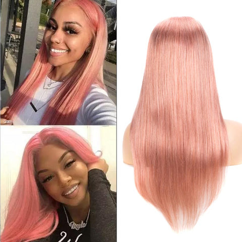 4*4 Lace Closure Pink Straight Hair Wig 150% Density Colored Wigs