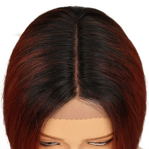 Straight Bob Wig With Middle Part 10 Inch Ombre Color Lace Wigs