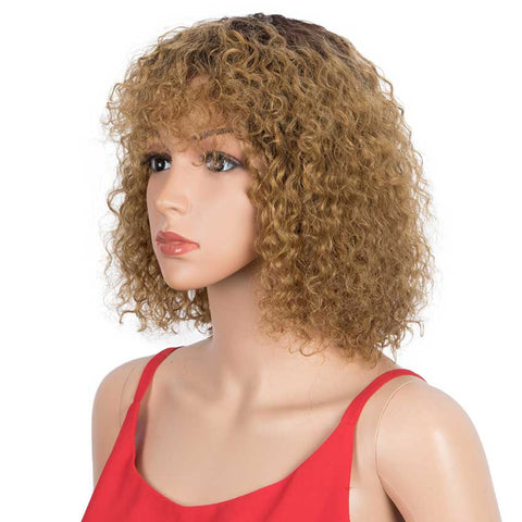 Image of Ombre Bob Wig With Bangs 10 inch TT2-27 Curly Wigs