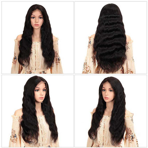 Image of 13x4 Lace Front Wigs Body Wave Human Hair 150% Density Natural Black Color