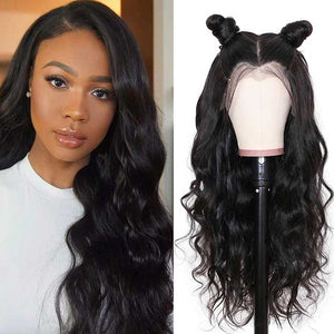 13x4 Lace Front Wigs Body Wave Human Hair 150% Density Natural Black Color