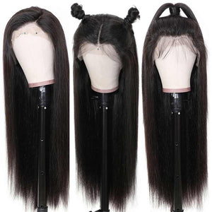 Rebecca Fashion 13x4 Lace Frontal Wigs 100% Straight Human Hair Wigs 150% Density Natural Black Color