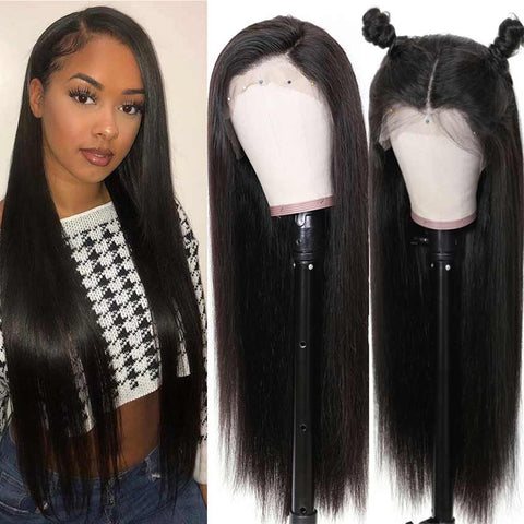 Image of 13x4 Lace Front Wigs Straight Human Hair Wigs 150% Density Natural Black Color