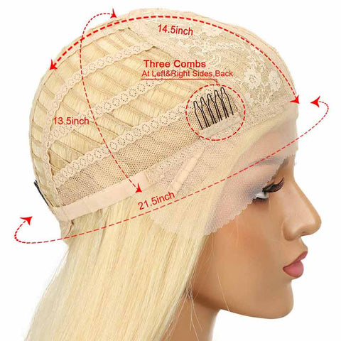 Image of Blonde Straight Bob Wig With Transparent Lace Part 10 Inch Human Hair Wig