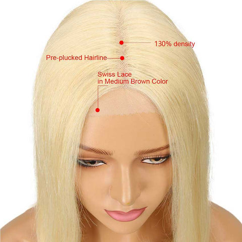 Blonde Straight Bob Wig With Transparent Lace Part 10 Inch Human Hair Wig
