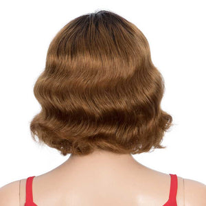 Short Deep Wave Wig Ombre Brown Wigs With Bangs 130% Density