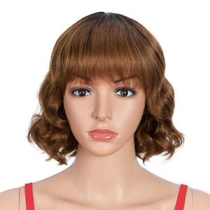 Short Wig 9 inch Deep Wavy Human Hair Wig With Bangs
