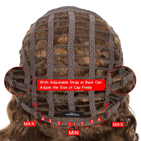 Wavy Wig Bob 9 inch Human Hair Short Brown Wigs With Bangs