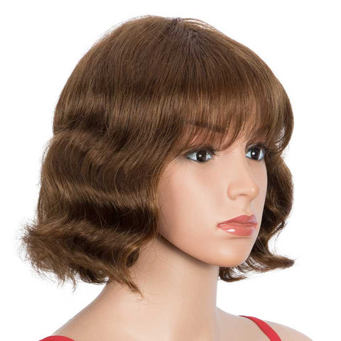 Image of Short Wig 9 inch Deep Wavy Human Hair Wig With Bangs