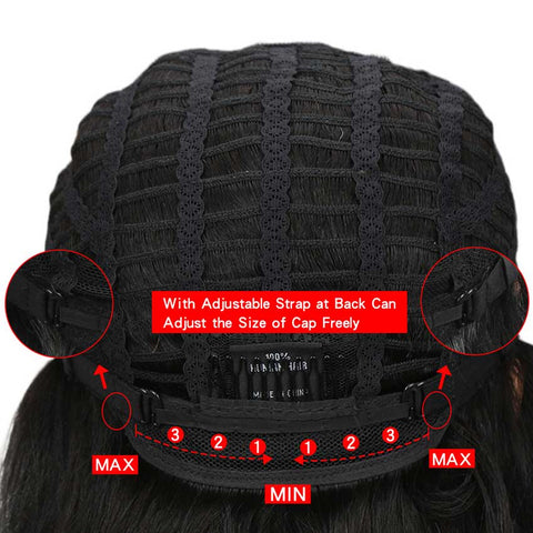 Image of Straight Middle Part Lace Wig Short Human Hair Black Wigs