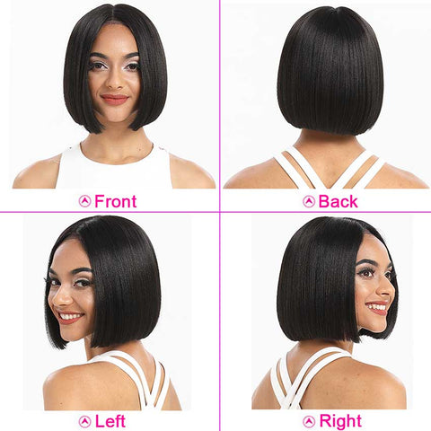 Image of Straight Lace Part Short Bob Wig 130% Density 10 Inch Human Hair Wigs