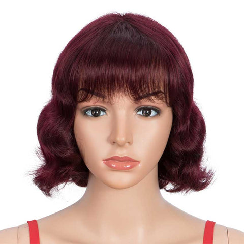 Image of Wine Red Short Wavy Wig Human Hair 9 inch 99J Wigs With Bangs