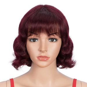 Wine Red Short Wavy Wig Human Hair 9 inch 99J Wigs With Bangs