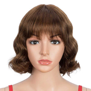 Deep Wavy Human Hair Wigs P-Color Wig With Bangs 9 Inch