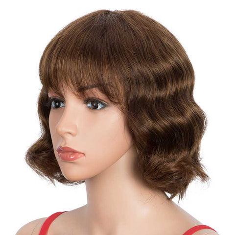 Image of Deep Wavy Human Hair Wigs P-Color Wig With Bangs 9 Inch