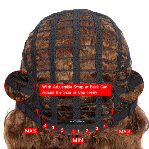Deep Wavy Bob Wigs With Bangs Human Hair 9Inch Brown Short Wig