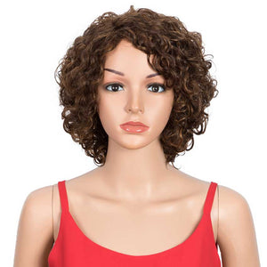 Human Hair Short Wavy Bob Wig 130% Density P-Color Wigs