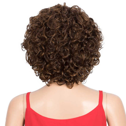 Image of Human Hair Short Wavy Bob Wig 130% Density P-Color Wigs