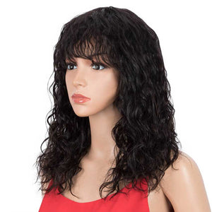 Natural Curly Wavy Wig 130% Density 16-inch Wigs With Bangs