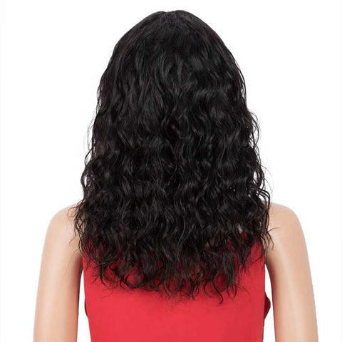 16 inch Natural Black Curly Wavy Human Hair Wigs With Bangs