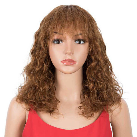Image of Curly Wavy Wigs With Bangs 16 inch Basic Cap Human Hair Wig
