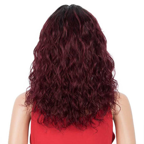 Image of Dark Red Wig Natural Wavy Wig 16 inch Human Hair Wigs With Bangs