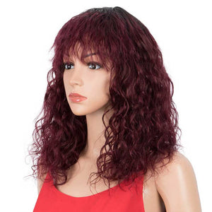Dark Red Wig Natural Wavy Wig 16 inch Human Hair Wigs With Bangs