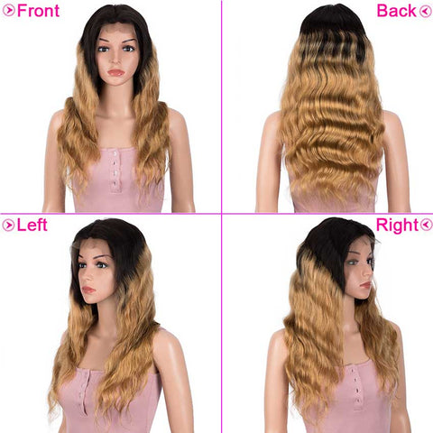 13x4 Lace Front Wigs Body Wave Human Hair 150% Density Black To Blonde Color
