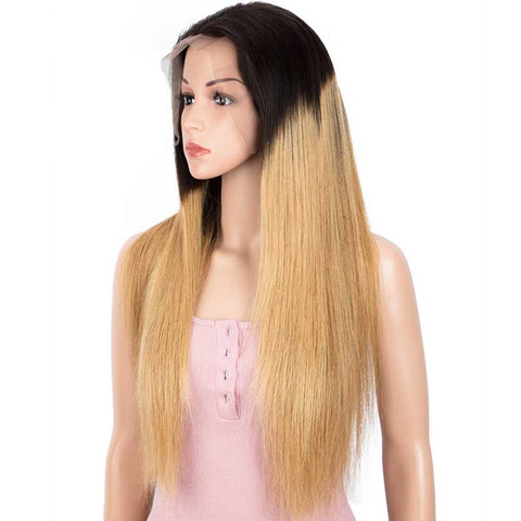 Image of 13x4 Lace Front Wig Straight Human Hair Blonde Brown Wigs 150% Density
