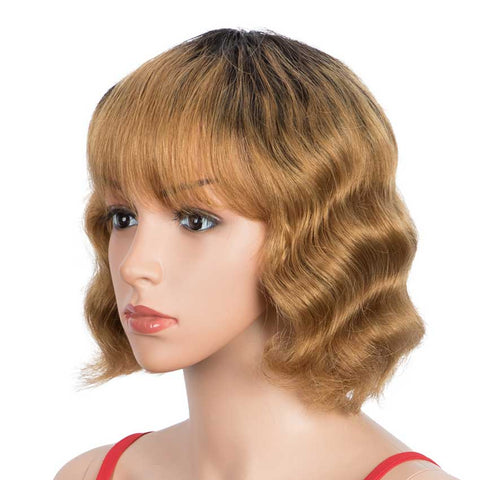 Image of Short Deep Wavy Human Hair Wig With Bangs Black Roots Ombre Wig