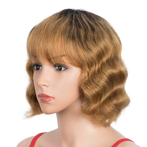 Short Deep Wavy Human Hair Wig With Bangs Black Roots Ombre Wig