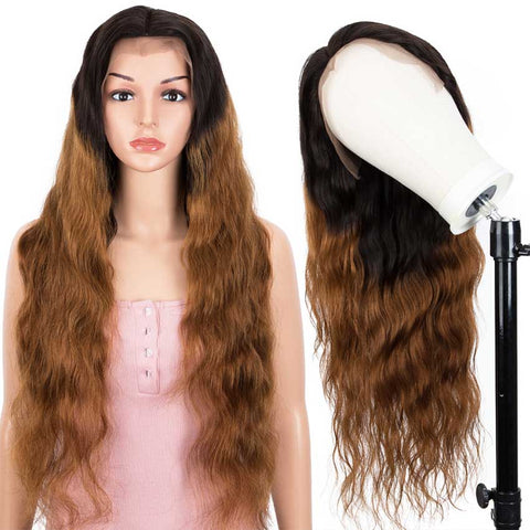 Image of 13x4 Lace Front Wigs Body Wave Human Hair 150% Density Black To Brown Color